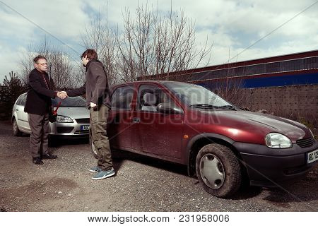 Driver With Empty Tank Stopping Other Man To Give Him Some Gasoline