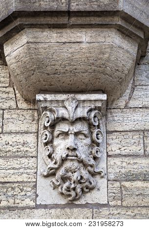 Man Head Relief, Architecture Detail In Tallinn, Estonia