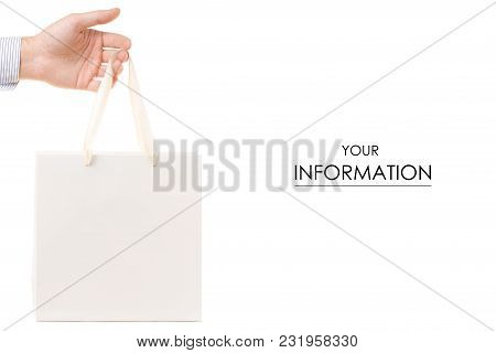 White Bag In Hand Buying Pattern On A White Background Isolation