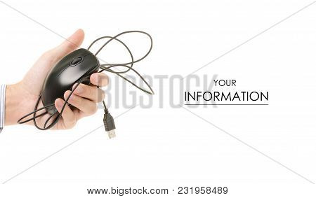 Computer Mouse In A Hand Pattern On A White Background Isolation