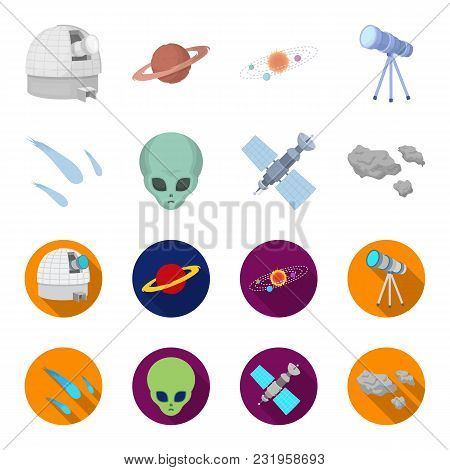 Asteroid, Car, Meteorite, Space Ship, Station With Solar Batteries, The Face Of An Alien. Space Set
