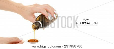 Cough Syrup In Hand Pattern On A White Background Isolation