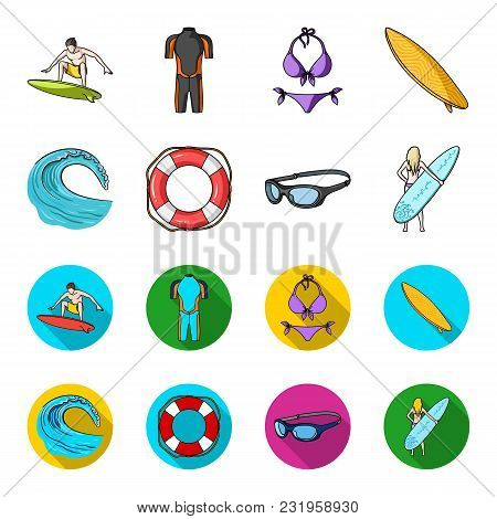 Oncoming Wave, Life Ring, Goggles, Girl Surfing. Surfing Set Collection Icons In Cartoon, Flat Style
