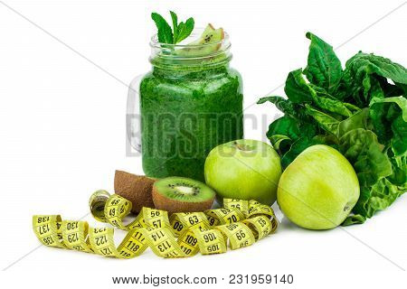 Healthy Eating. Green Apple, Spinach ,green Smoothies , Measuring Tape. Dieting, Slimming, Weight Lo