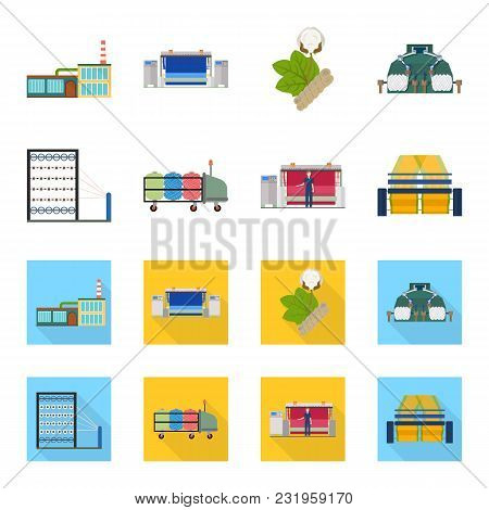 Machine, Equipment, Spinning, And Other  Icon In Cartoon, Flat Style., Appliances, Inventory Textile