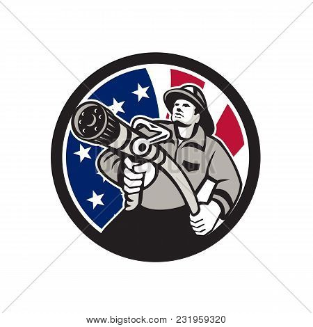 Icon Retro Style Illustration Of An American Firefighter Or Fireman Holding A Fire Hose Front View W