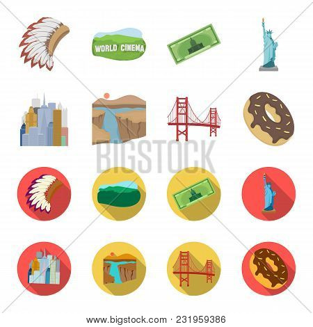 A Megacity, A Grand Canyon, A Golden Gate Bridge, Donut With Chocolate. The Us Country Set Collectio