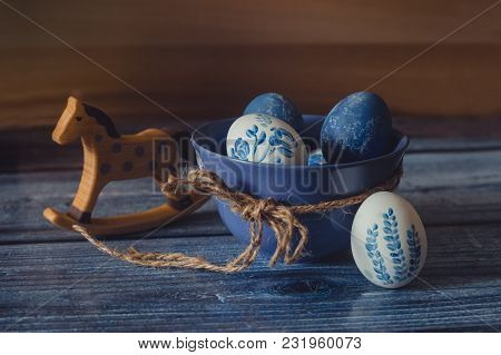 The Easter Still Life. Rustic Style In Blue Colours