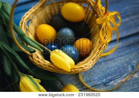 The Easter Still Life With Tulips, Yellow And Black