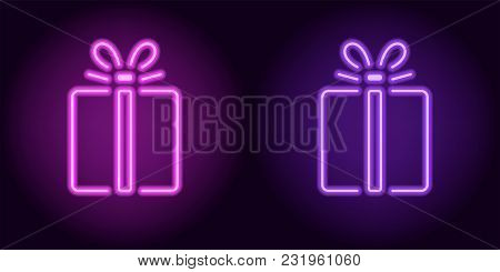 Purple And Violet Neon Gift Box. Vector Silhouette Of Neon Holiday Gift Consisting Of Outlines, With