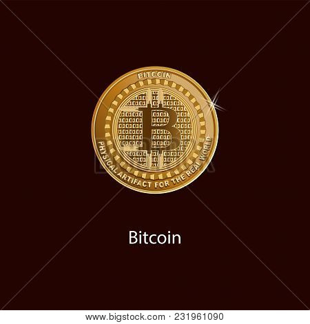 Bitcoin Is A Symbol Of A Physical Coin. Gold Sign Of Crypto Currency On A Dark Background. Cryptogra