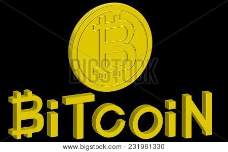 Cryptocurrency Editable Banner Template. Bitcoin. 3d Isometric Physical Bit Coin. Golden Bitcoin Coi