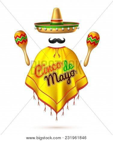 3d Cinco De Mayo Party Festival Traditional Mexican Holiday Celebration Design. Sombrero Realistic M