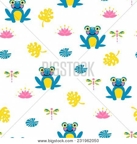 Cute Blue Frogs Seamless Vector Pattern. Pond Life Repat Texture.