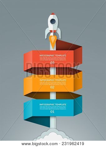 Vector Startup Infographics. Starting Space Rocket With 3 Options Banner. Can Be Used For Graph, Dia