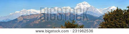 Panoramic View Of Mount Dhaulagiri, Nepal Himalayas Mountains