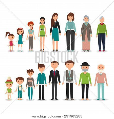 Process Of Aging In Vector Depicting Men And Women In Particular Period Of Life, From The Childhood