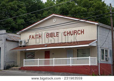 Burkesville, Ky/usa - July 2, 2017: The Faith Bible Church In Burkesville, Kentucky.