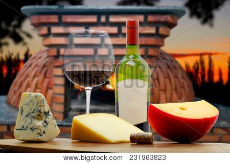 White wine in the cellar with cheese