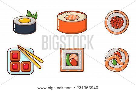 Sushi Icon Set. Cartoon Set Of Sushi Vector Icons For Web Design Isolated On White Background