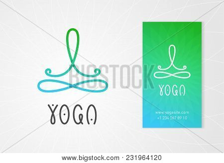 Yoga Studio Logo Design Template With Man In Lotus Pose Above The Infinity Sign. Modern Colorful Sty