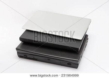 Comparing Of Laptops, New Modern And Old Laptops, Present And Past, Technology Progress Isolated On