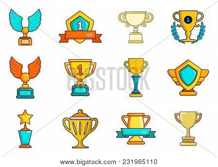 Gold Cup Icon Set. Cartoon Set Of Gold Cup Vector Icons For Web Design Isolated On White Background