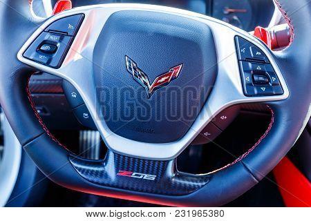 Noblesville - Circa March 2018: Chevrolet Corvette Z06 Emblem At A Chevy Dealership. Chevy Is A Divi