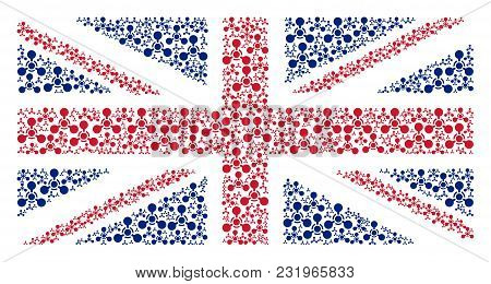 Great Britain State Flag Collage Done Of Wmd Nerve Agent Chemical Warfare Design Elements. Vector Wm