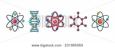 Molecule And Atom Icon Set. Cartoon Set Of Molecule And Atom Vector Icons For Web Design Isolated On