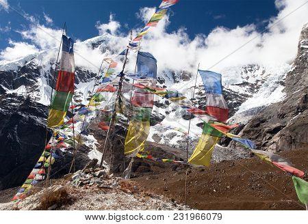 Buddhist Prayer Flags, Maklu Barun National Park, Nepal Himalayas Mountains