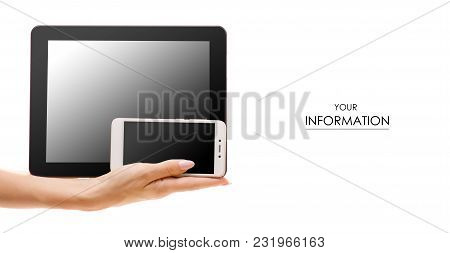 Tablet Mobile Phone In Hand Pattern On White Background Isolation