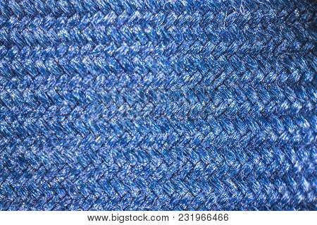 Enlarged Image Of A Cloth Fabric. Fabric Texture Concept For Background Or Wallpaper. Blue Colour