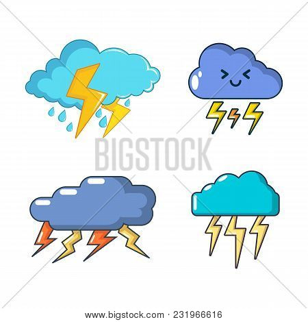 Storm Cloud Icon Set. Cartoon Set Of Storm Cloud Vector Icons For Web Design Isolated On White Backg