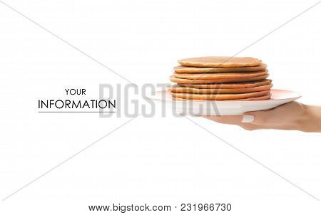 Pancakes On A Plate On A Hand Pattern On White Background Isolation