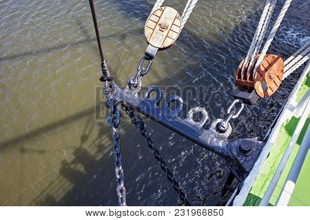 Chains And Blocks As Part Of Rigging On A Sailing Ship.