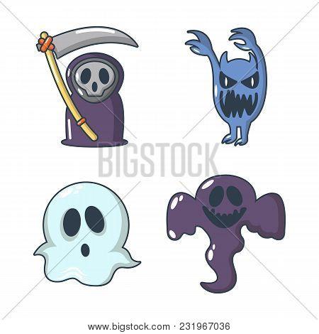 Halloween Costume Icon Set. Cartoon Set Of Halloween Costume Vector Icons For Web Design Isolated On