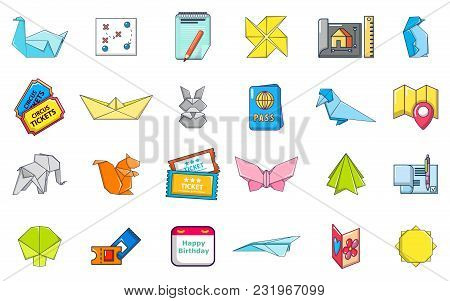 Paper Object Icon Set. Cartoon Set Of Paper Object Vector Icons For Web Design Isolated On White Bac