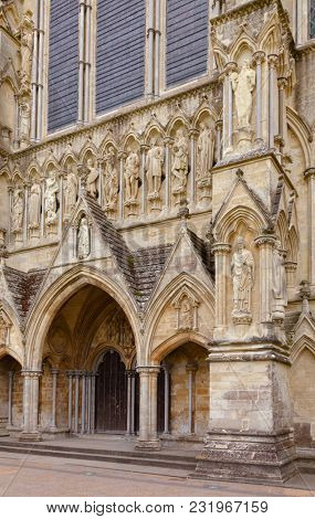 North front of Salisbury Cathedral facade (Cathedral Church of the Blessed Virgin Mary), one of the leading examples of Early English architecture in Wiltshire, South West England, UK