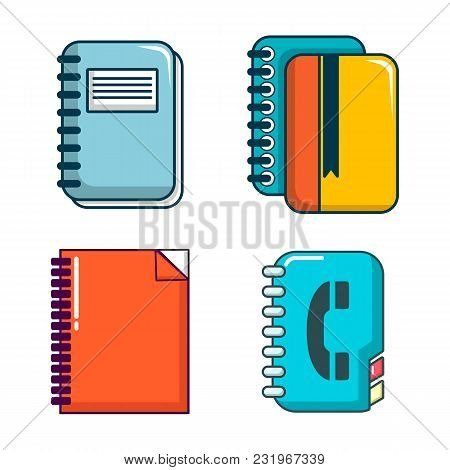 Notebook Icon Set. Cartoon Set Of Notebook Vector Icons For Web Design Isolated On White Background