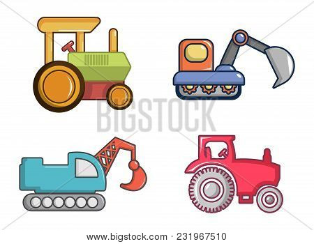 Tractor Icon Set. Cartoon Set Of Tractor Vector Icons For Web Design Isolated On White Background