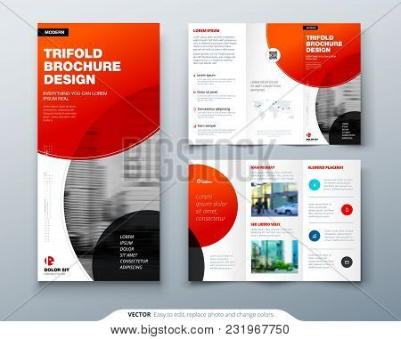 Tri Fold Brochure Design. Red Business Template For Tri Fold Flyer. Layout With Modern Circle Photo