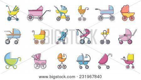 Baby Carriage Icon Set. Cartoon Set Of Baby Carriage Vector Icons For Web Design Isolated On White B