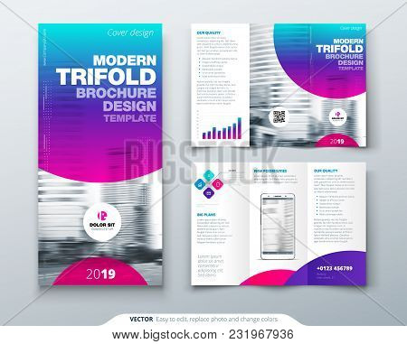 Tri Fold Brochure Design. Cool Business Template For Tri Fold Flyer. Layout With Modern Circle Photo
