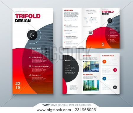 Tri Fold Brochure Design. Business Template For Tri Fold Flyer. Layout With Modern Circle Photo And