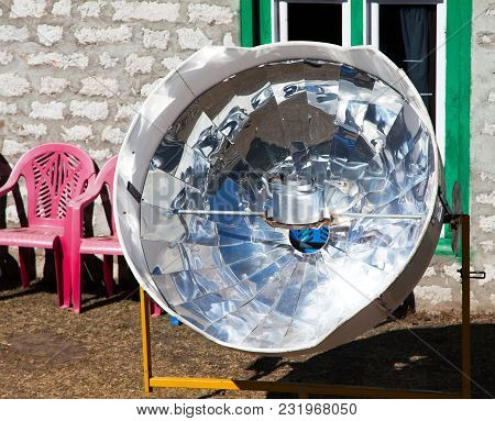 View Of Sunny Solar Cooker, Everest Area, Nepal, Ecology Cooking