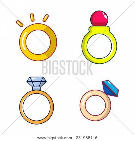 Ring Icon Set. Cartoon Set Of Ring Vector Icons For Web Design Isolated On White Background