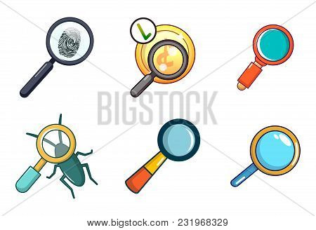 Magnified Glass Icon Set. Cartoon Set Of Magnified Glass Vector Icons For Web Design Isolated On Whi