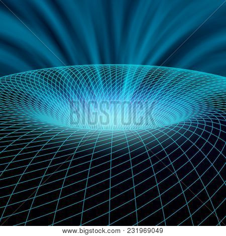 Shining Cyber Hole In Wireframed Object. Power Streaming Out Of The Object. Technological Vector Ill