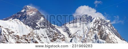 Top Of Mount Everest And Lhotse From Gokyo Valley With Southern Saddle - Way To Everest Base Camp -